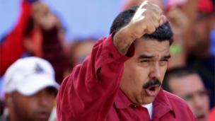 Venezuela's President Nicolas Maduro gestures during a rally against US President Donald Trump in Caracas, Venezuela, August 14, 2017.