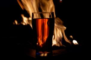 Pint of cider and fire