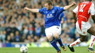 Wayne Rooney playing for Everton in 2002