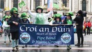 The rain lashed on little leprechauns at the Belfast parade