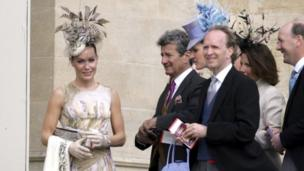 Tara Palmer-Tomkinson, left, and her family arriving at Prince Charles and his wife Camilla, Duchess of Cornwall's service of Prayer and Dedication at St. George's Chapel in Windsor on 9 April 2005