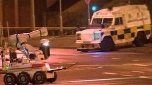 The scene of the alert in north Belfast