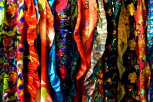 Silk garments in a shop in Beijing