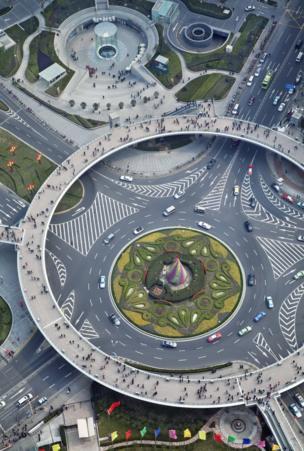 Ariel view of an interchange in Shanghai, China
