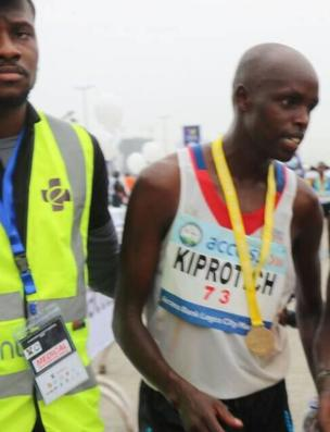 Abraham Kiprotich, winner of di marathon.