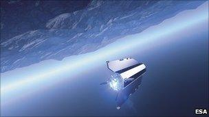 Artist's impression of Goce in orbit (Esa)