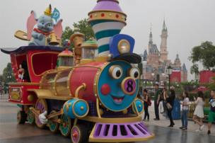 A train parade float during the opening of the Disney Resort in Shanghai, 15 June 2016.