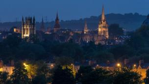 The Oxford skyline at dusk, taken from South Parks.