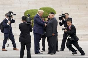 President Trump met the North Korean leader, Kim Jong-un, at the demarcation line between North and South Korea on 30 June. The two men shook hands, with Mr Kim saying he had never expected to meet the president at this place. Mr Trump then crossed over into North Korea, the first US President to do so.