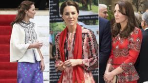 Duchess of Cambridge (l-r) in Bhutan, Assam and Mumbai.