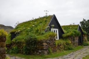 Techos cubiertos de plantas sobre unas casas negras hechas de madera y de piedras.