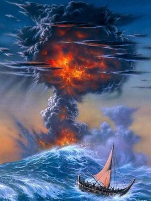 Una ilustración de la misteriosa erupción vista desde el mar, donde un barco batalla las olas