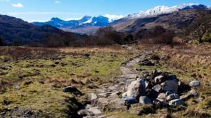 Snow and sunshine over Snowdonia as seen by Donald McNaught from Cardiff while walking around Capel Curig.