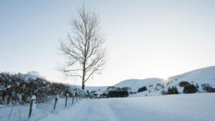 Snow in Dernol in the upper Wye Valley
