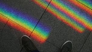 Rainbow on pavement