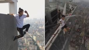A composite image shows Wu Yongning, left, facin outward on tha exterior of a wall high above tha hood skyline, holdin on wit just one hand from a ledge above ; n' right, chillin on a steel girder which is projectin over tha edge of a straight-up tall buildin tha fuck into tha street