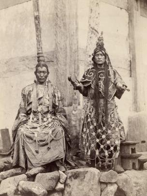 Lamas at Talung in Sikkim, East India. Johnston and Hoffman, Photograph, Sikkim, India, 1897. (c) Royal Geographical Society