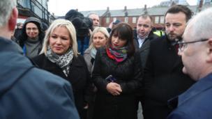 Sinn Féin deputy leader Michelle O'Neill (left) and MP Elisha McCallion (centre) and SDLP leader Colum Eastwood attended the announcement