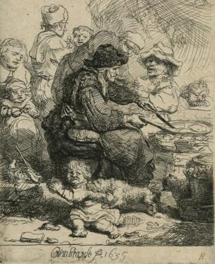 Rembrandt's The Pancake Woman. Etching on paper. 10.9 x 7.9cm