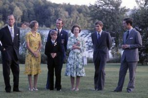 Prince Philip, Duke of Edinburgh and his family, Princess Anne, Princess Royal, Mark Phillips, Prince Edward, Earl of Wessex, Queen Elizabeth ll, Prince Andrew and Prince Charles, Prince of Wales pose together during the Olympic Games in 1976 July in Bromont, Canada.