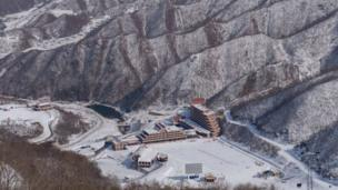 This photo taken on February 20, 2017 shows a general view of the Masikryong ski resort, near North Korea's east coast port city of Wonsan.