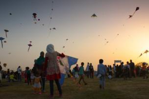 Kites fly in the sky