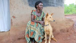 woman wit dog