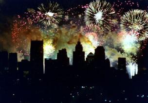 Fireworks over Detroit for 4 July celebrations
