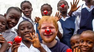 Ed Sheeran with Liberian children in Monrovia