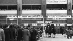 Fans queue to get tickets outside Upton Park, on 11 January 1972