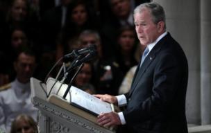Former US President George Bush speaks at the Washington memorial service for Senator John McCain