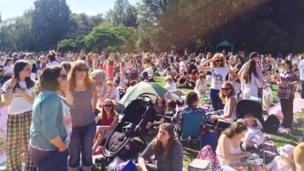 Hundreds of people gathered in Cooper's Field on Sunday for a pyjama picnic