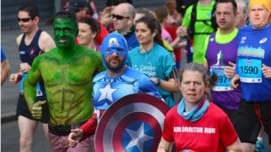Superheroes taking part in Belfast City Marathon, 1 May 2017