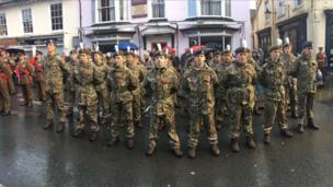 The Combined Cadet Force of Christ College, Brecon, attended Brecon's service