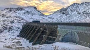 Stwlan Dam above Blaenau Ffestiniog power station