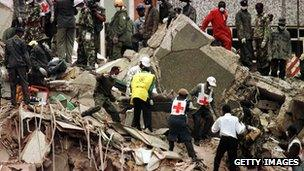 Aftermath of US embassy bombing, Nairobi, August 1998