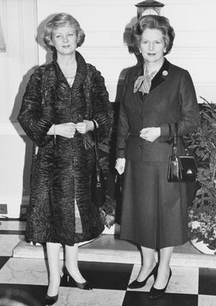 Vigdis Finnbogadottir (left), the President of Iceland, meets British Prime Minister Margaret Thatcher at Number 10 Downing Street in London, 17th February 1982.