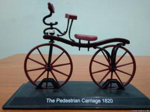 1820 में बनी पहली साइकिल का मॉडल.
