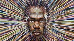 லண்டனில் 2012 ஜூலை 10 ஆம் தேதி தெரு ஓவிய கலைஞர் ஜேம்ஸ் கொக்ரான் வரைந்த வேகமான ஓட்டப்போட்டி ஜாம்பவான் உசைன் போல்ட்டின் உருவப்படம்
