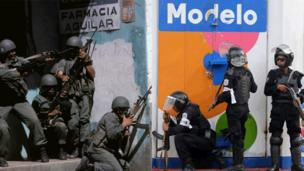 Armed security forces can be seen by the entrance to a pharmacy in 1979/Riot police forces confront anti-government demonstrators at Monimbo neighbourhood in Masaya, some 35 km from Managua, on July 13, 2018