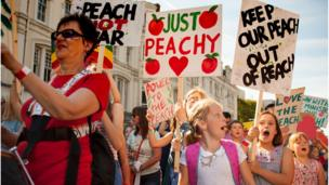 A 'protest' group followed the giant peach around the city's streets