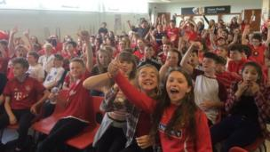 Pupils at Ysgol David Hughes, Anglesey, watched the game