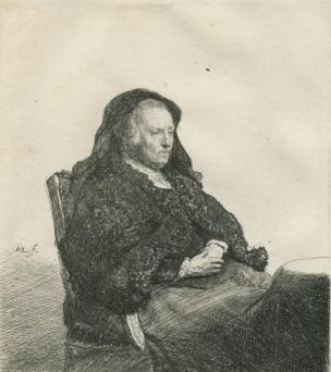 Rembrandt Harmensz van Rijn's Mother Seated at a Table, Looking right, three-quarter Length (II/III), 1631. Etching on paper. 14.9 x 13.1 cm