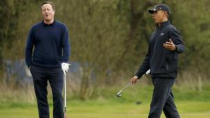 Prime Minister David Cameron and US President Barack Obama play golf at The Grove