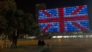 City hall in Tel Aviv lit with Union Jack