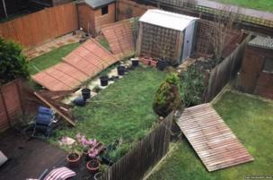 Storm Katie destruction in Chadwell Heath, Essex. Credit: @fantasiasamplings on Instagram