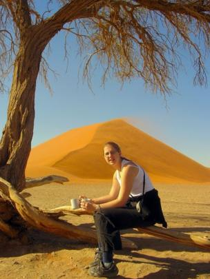 Woman with mugs in Namibia