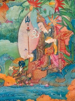 A detail from the murals in the Dalai Lamas' private meditation chapel, painted circa 1700, in the Lukhang Temple