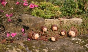 Erizos de madera en el jardín.