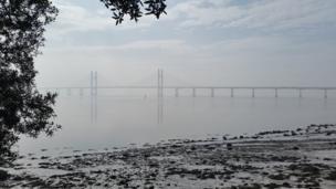 Severn Crossing, from Blackrock near Portskewett,